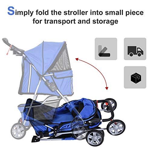 PawHut 4 Wheel Dog Pet Stroller Dog Cat Carrier Folding Sunshade Canopy with Brake, Blue