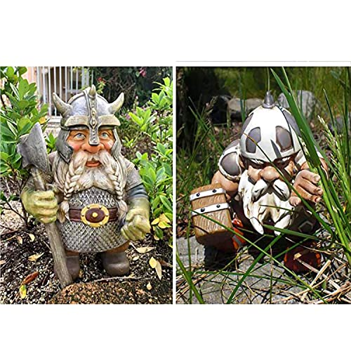 Viking Victor Norse Dwarf GNOME Statue - 2021 Viking Garden GNOME Full Color Decoration, Outdoor GNOME Resin Figurine for Home Yard Decor, Show Your Viking Pride (Set)