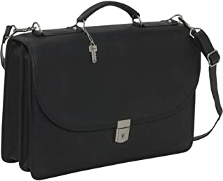 Jack Georges [Personalized Initials Embossing] Platinum Double Gusset Flap Over Leather Briefcase in Black