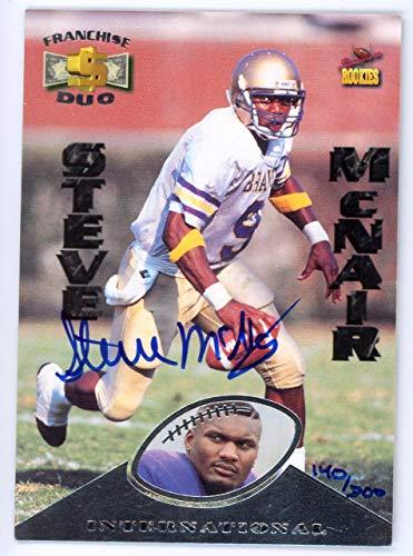 Steve McNair Autographed 1995 Signature Rookies Card Houston Oilers SKU #134634 - NFL Autographed Football Cards