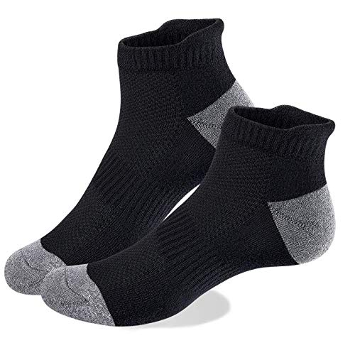 VoJoPi 5 Pares Calcetines Running Hombre, Calcetines Deporte Tobilleros con Anti-Rozaduras, Calcetines Algodon Transpirables para Fitness, Maratón, Tenis 39-46