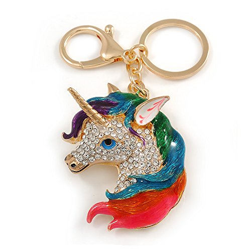 Avalaya - Llavero con colgante de unicornio esmaltado multicolor en metal dorado, 10 cm de largo