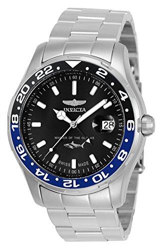 Invicta 25821 Men's Pro Diver Steel Bracelet Black Dial Watch