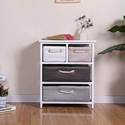 Ruication Chest of Drawer Bedside Table Storage Cabinets Wicker Woven Baskets Organiser Country Style Side Cupboard Unit Nightstand for Bedroom Living Room Bathroom Hallway (4 Drawers)