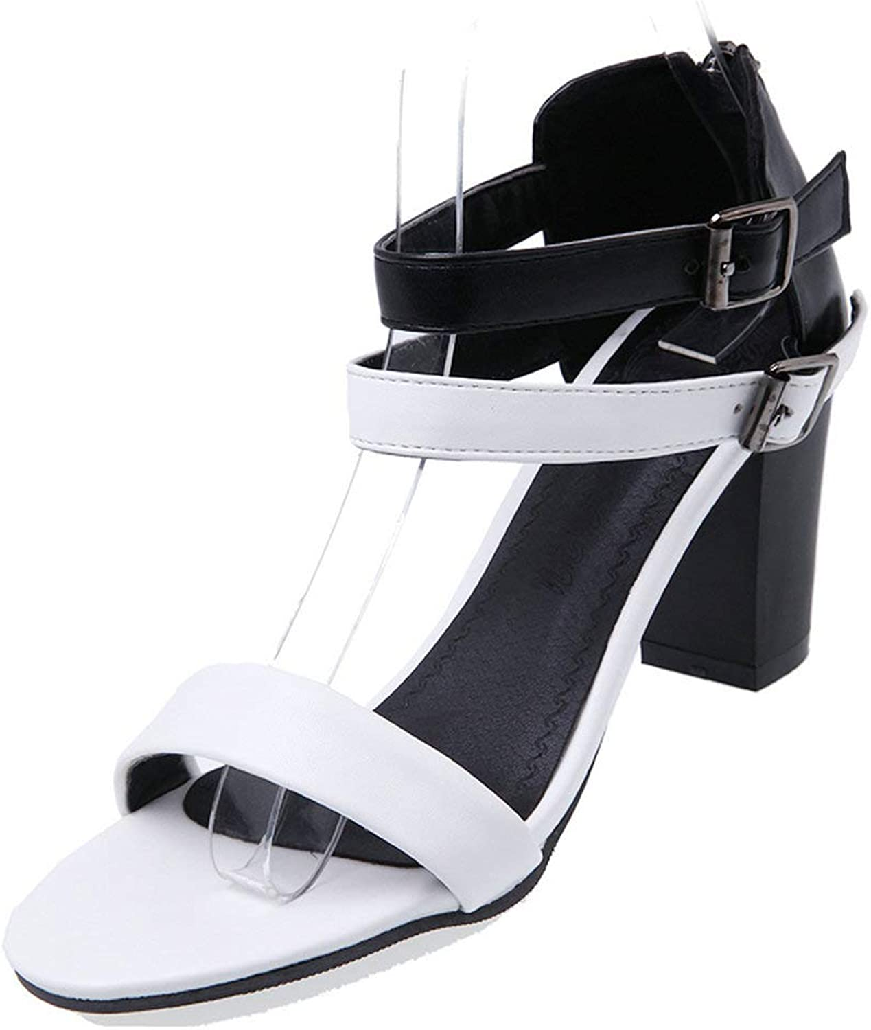 AnMengXinLing Ankle Strap Block Heel Sandals Women Open Toe Strappy Leather Double Buckle Dress Wedding Party Evening Office shoes Brown