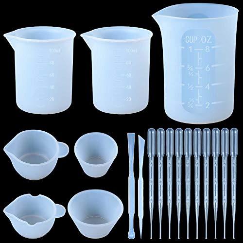 19 Stücke Silikon Messbecher Set für Epoxy Harz Einschließen 250 ml, 100 ml Wiederverwendbar Silikon Messbecher Präzise Skala, 4 Mini Gießbecher, 2 Rührstab, 10 Kunststoff Transfer Tropfer