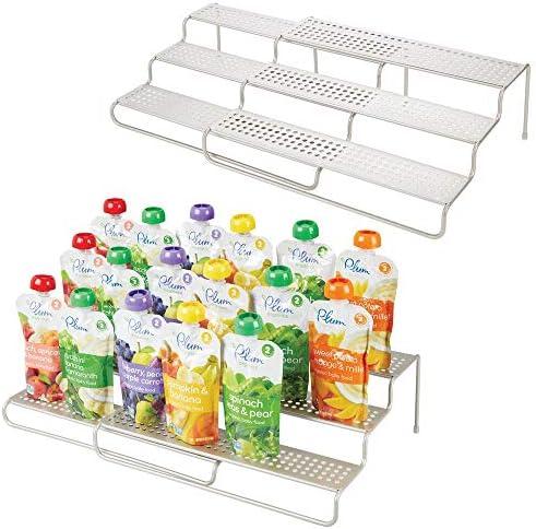 mDesign Expandable Kitchen Cabinet Metal Wire Kid Baby Food Storage Shelf Organizer Rack Holder product image