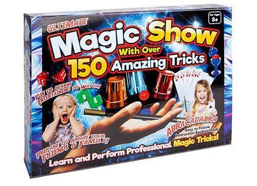 Mega Magic Box - Set di 150 trucchi per bambini, con cappello magico, coniglio e bacchetta