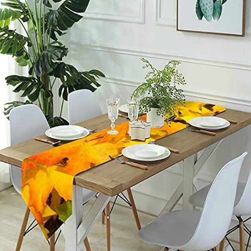 Reebos Camino de mesa de lino para aparador, colores otoñales, hojas de otoño, caminos de mesa de cocina, para cenas de granja, fiestas de vacaciones, bodas, eventos, decoración - 33 x 70 pulgadas