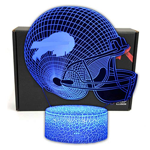 2BANANAS 3D Optical Illusion Smart 7 Colors Night Light Table Lamp Gifts for Buffalo Men, Women, Kids, Boys, Teens