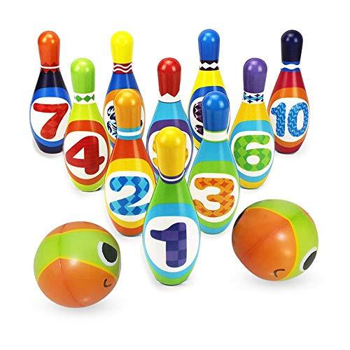 Leegoal Kinder Bowling Set, Bowling Ball-Spiele lustige Bowling-Set-Spielzeuge pädagogische Spielzeug-Party Gefälligkeiten mit 10 Pins und 2 Kugeln, tolles Geschenk für Kids Kleinkinder Mädchen