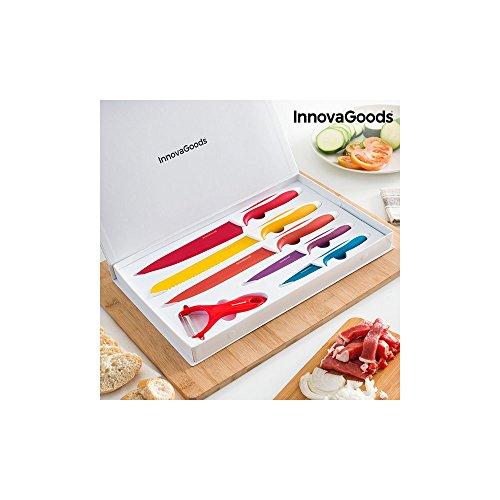 InnovaGoods Juego de Cuchillos y Pelador, Acero Inoxidable, 38x24x3 cm