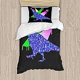 Juego de ropa de cama de 3 piezas para niños (1 funda de edredón + 2 fundas de almohada) de lujo con cremallera oculta completa de 127 x 200 cm