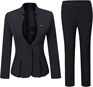 01a6aa7c8 YUNCLOS Women's Elegant Business Two Piece Office Lady Suit Set Work Blazer  Pant