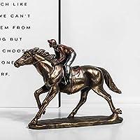 馬の彫刻、馬の像のコールドキャストブロンズフィギュア、ホームオフィスの机の装飾のための収集可能な装飾B 26.5x6x18cm(10x2x7inch)