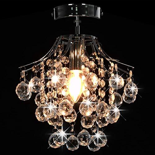 Tidyard Deckenleuchte mit Kristallperlen Hängeleuchte Kristall Kronleuchter Lüster Deckenlampe Leuchte Lampe Pendelleuchte Silbern Rund E14