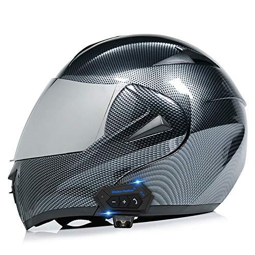 BDTOT Motorradhelm Helm Motorrad mit Bluetooth Headset Klapphelm mit Doppelvisier mit Eingebautem Mikrofon für Automatische Reaktion ECE-Zertifizierung Für Frauen Männer Erwachsene