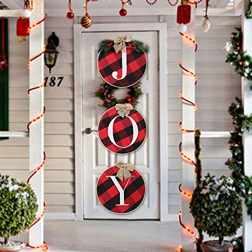 Christmas Decorations Joy Sign Christmas Porch Sign Rustic Burlap Wooden Holiday Decor Buffalo Check Plaid Wreath Front Door for Xmas Decoration Holiday Home Window Wall Farmhouse Indoor Outdoor