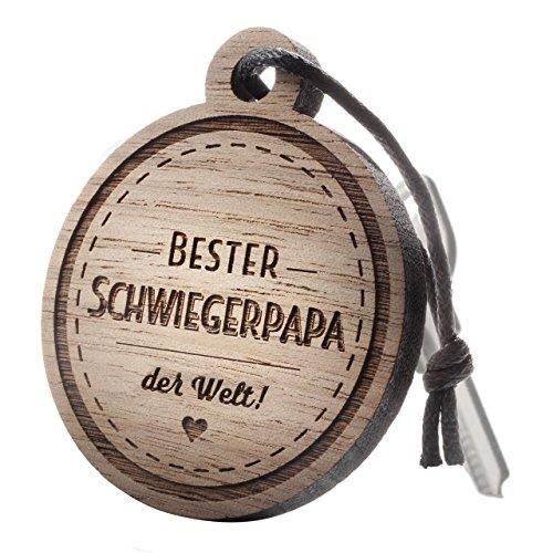 """Schlüsselanhänger aus Holz mit Gravur """"Bester Schwiegerpapa"""