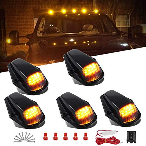 Amber Cab Marker Light for Ford F150 F250 F350 1973-1997 F-Series Super Duty Pickup Trucks, 12 LED Roof Running Lights Top Clearance Lamp w/Wiring Harness (Pack of 5)
