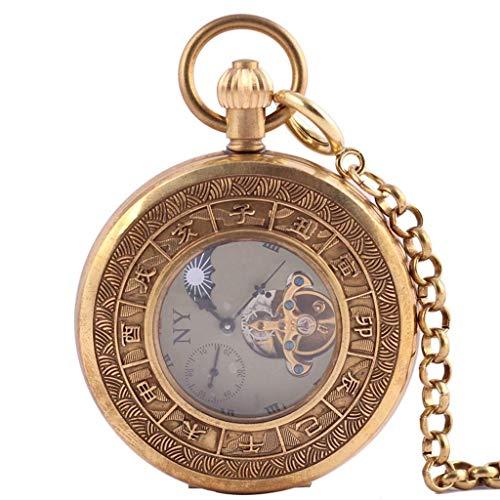 JYTFZD YANGHAO-Reloj de Pulsera- Reloj de Bolsillo mecánico Hueco Creativo Antiguo Retro Bolsillo Reloj de Bolsillo (Cobre Puro) OUZDNSSB-5