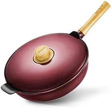 MSWL Wok, 32cm Wok, Non-stick Pan, Induction Cooker Universal Pot Pot (Color : Red, Size : 32cm)