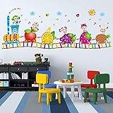 Adesivo Da Parete Adesivo Murale Cartone Animato Camera Dei Bambini Dell'Asilo, Adesivo Impermeabile Trenino Animale Frutta Felice
