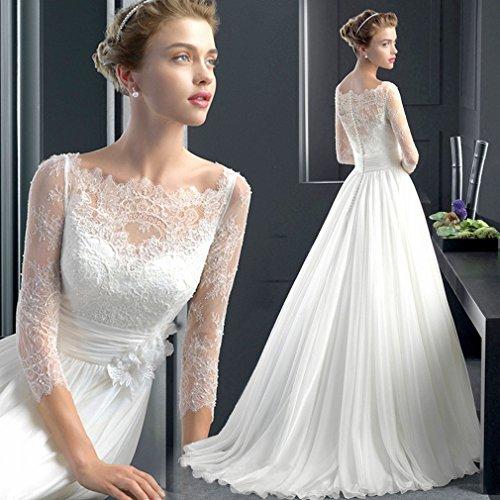 Vestido novia de encaje con manga larga y corte fluido