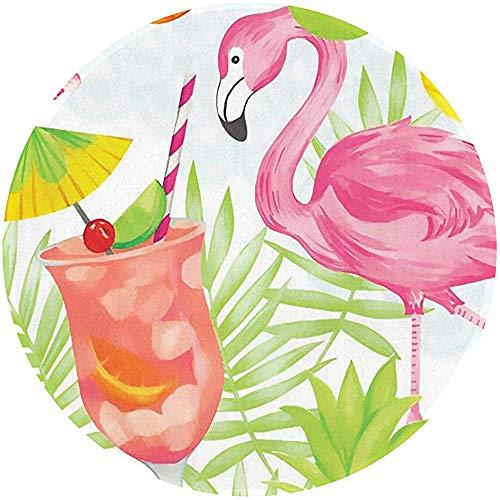 Trista Bauer Tropische Bnana-Blatt-Flamingo-Getränk-Saft-Eingangstür-Matte Rutschfester runder Teppich Waschbar60 cm im Durchmesser