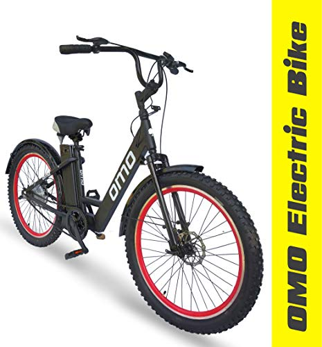Omobikes Model E.0 Electric Cycle with Removable Battery | Unisex Design, Front Basket[Heavy Duty] | 250watt Motor, 36v 12ah Lithium Ion Battery[40km RealLife Range] Black Color