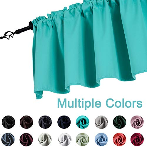 KEQIAOSUOCAI Turquoise Window Valance for Kitchen 52 Inch by 18 Inch Rod Pocket Blackout Short Curtain Valance for Kids Room Bathroom 1 Panel