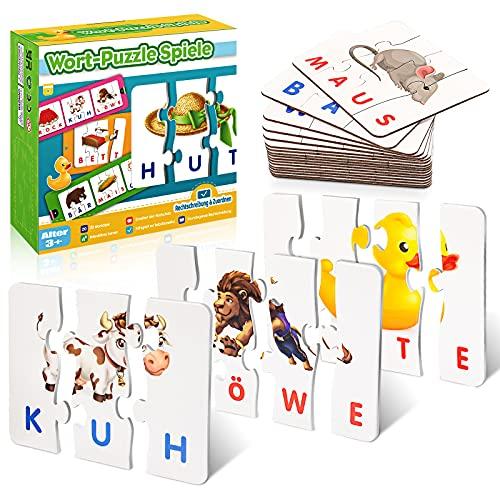 Stfitoh Kinderspielzeug ab 2 3 4 5 6 7 Jahre, Scrabble Buchstaben Lernen Spielzeug ab 2-7 Jahre Mädchen Lernspiele ab 2-7 Jahre Geschenke Weihnachten Buchstaben Spiel Geschenk Junge Mädchen 2-7 Jahre