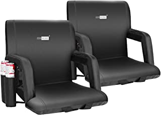 VIVOHOME Reclining Stadium Seat, Extra Wide 24.5 Inch or Standard 20 Inch, Portable Cushion Chair with Adjustable Armrests and Straps for Bleachers, Two Pockets for Drinks