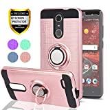 YmhxcY ZTE ZMAX One (Z719DL)/ Grand X4/ZTE Blade Spark Z971 Case with HD Phone Screen Protector, 360 Degree Rotating Ring & Bracket Dual Layer Resistant Back Cover for ZTE Grand X 4 Z956-ZH Rose Gold