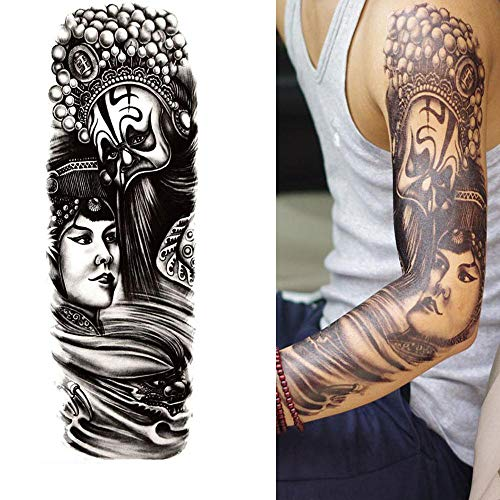 Große Temporär Tätowierung Haut Wasserfest Schwarz Körperkunst Tattoo - 4 Blätter Chinesisches Drama Buddha Statue Mädchen Blumen Temporäre Aufkleber Fake Arm Tattoos Sticker Für Männer Frauen Kinder