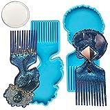2 Moldes de peine de fundición epoxi, peine de silicona moldes de resina, molde de peine para resina, 6.5 x 2.3 pulgadas, con 1 espejo, para bolsillos, baño (azul) HOINCO