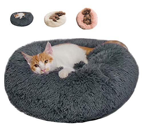 BinetGo Donut Dog Bed Cat Bed Calming Anxiety,Pet Fluffy Bed Donut Cuddler Bed...