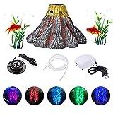 cheerfulus-123 Pecera Acuario volcán Ornamento Kit, Lámpara de Adorno de Resina para Acuario con Bomba de Aire, Piedra de Burbujas de Aire, Reflector LED subacuático Resistente al Agua Luz Decorativa