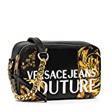 Versace Jeans Versace Jeans Sac Crossbody femme stripes Patchwork PU 71VA4B41, Black + Gold, Taille unique