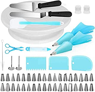 Cake Decorating Supplies Kits 52pcs-Set, Piping nozzles Baking Tools, 1 Turntable stand,36 Cake Tips, Icing Smoother Spatu...