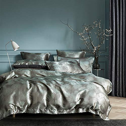 Ropa de cama romántica de satén, 3 piezas, 200 x 200 cm, diseño barroco, cremallera oculta, con 2 fundas de almohada de 80 x 80 cm, 1 x 220240 + 2 x 80 x 80 cm (HJFF-220-3T)