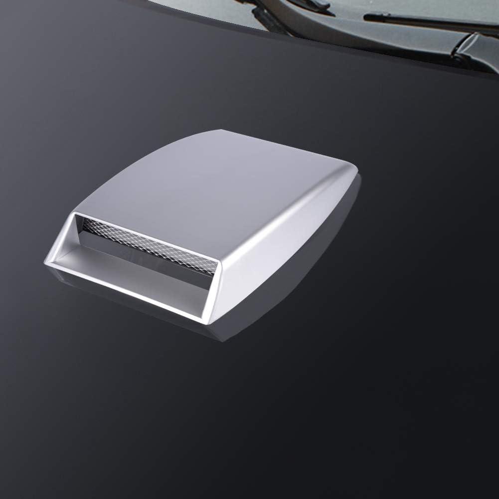 Air Flow Intake Scoop Car Air Flow Sticker ABS Universal Car Decorative Air Flow Intake Scoop Bonnet Vent Sticker Cover Hood Silver