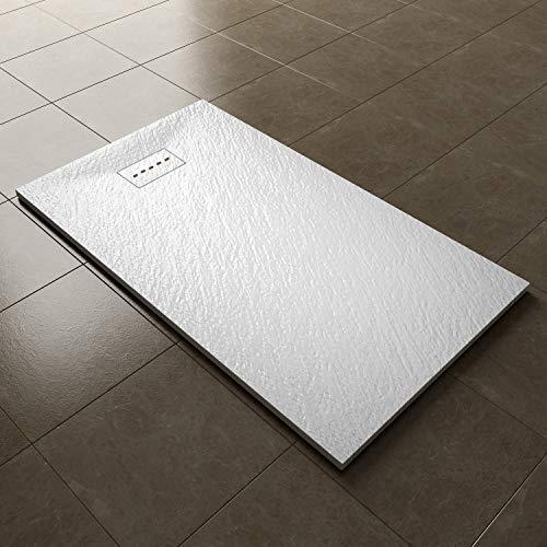 ELEGANT 1400 x 800mm Slip-Resistance Shower Base Slate Effect Square Shower Enclosure Tray with...