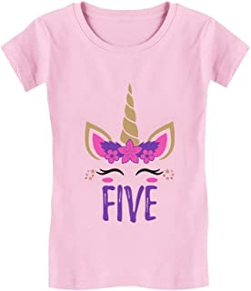 Gift for 5 Year Old Girl Unicorn 5th Birthday Toddler Kids Girls' Fitted T-Shirt