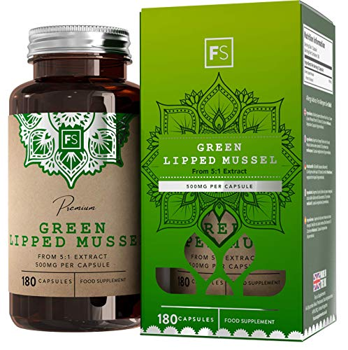FS Green Lipped Mussel for Humans Supplement | 500mg Per Serving | 180 Capsules (5:1) Extract | Clean Fillers | Non-GMO, Gluten & Dairy Free | Manufactured in The UK in ISO Licensed Facilities
