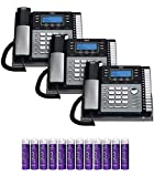 RCA 25424RE1 4-Line Expandable Phone System with Intercom (3-Pack) Bundle with Blucoil 12 AAA Batteries