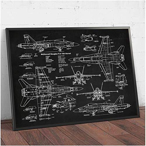 "Surfilter Print auf Leinwand Flugzeug F18 Hornet Prints Flugzeug Poster Fighter Jet Blueprint Kunst Leinwand Malerei Bild Pilot Home Decor 27.5"" x 39,4""(70x100cm) No Frame4"