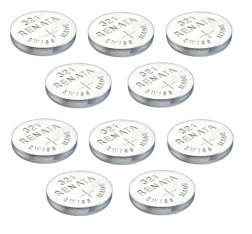10 x Renata 321 Knopfzellen / Uhrenbatterien Swiss Made, Silberoxid, SR616SW, 1,5 V), auch bekannt als SR616SW Sb-Af SR65, SR616,% 2fdf, 280-73, da, V321, D321, GP321, 611, 321