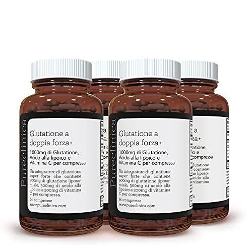 Glutationa de Doble Potencia 1000mg x 240 Comprimidos (60 comprimidos por frasco, 4 frascos). Con 500mg de Glutationa, 300mg de ALA, y 200mg de Vitamina C por comprimido. 200% más potente que los comprimidos de glutationa normales. SKU: GLU3x4