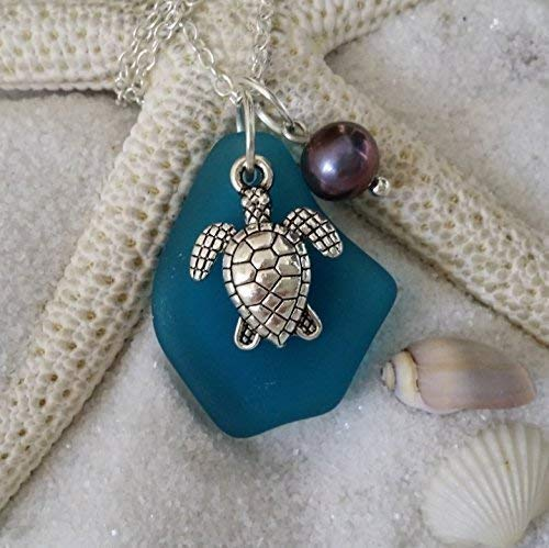 Handmade in Hawaii, teal blue sea glass necklace, sea turtle charm, Freshwater purple pearl, (Hawaii Gift Wrapped, Customizable Gift Message)